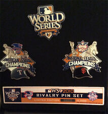 SF GIANTS / TX RANGERS 2010 WORLD SERIES HEAD TO HEAD 3 PIN SET LTD ED