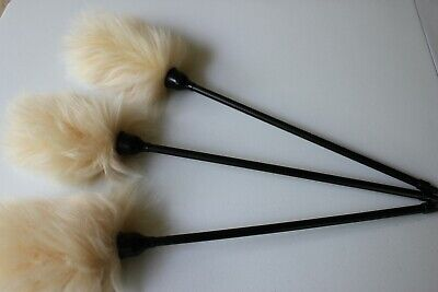 Two 2 quality export lambswool duster plastic handle 55cm honey wool