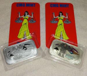 Set-Of-2-Abominable-Snowman-999-Silver-Enameled-Art-Bars-CMG-Mint-Bar-Monster