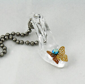Cinderellas glass slipper necklace butterfly once upon a time image is loading cinderella 039 s glass slipper necklace butterfly once aloadofball Choice Image