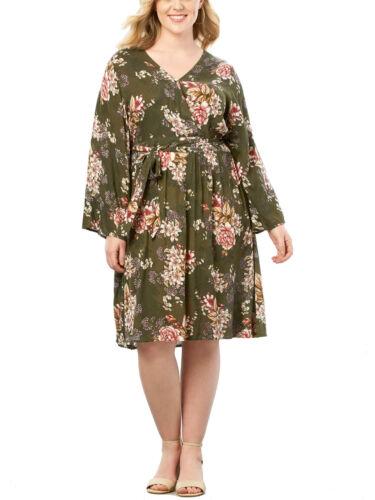Kleid Gr.44//46+50+52+56+58//60+62//64 Sommerkleid Khaki Damen Knielang Langarm Str