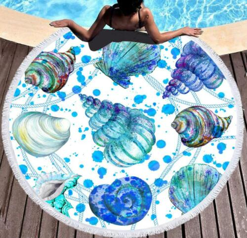 Details about  /3D Blue Conch NAO1363 Summer Plush Fleece Blanket Picnic Beach Towel Dry Fay