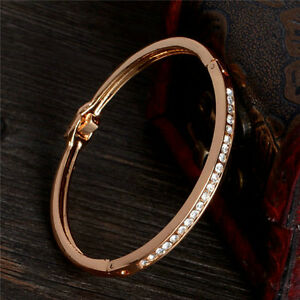 Fashion-Gold-Plated-Stainless-Steel-Cuff-Bangle-Jewelry-Crystal-Women-Bracelet
