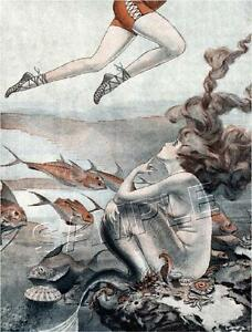 VINTAGE FRENCH FANTASY LEGS ART DECO MERMAID HAIR *CANVAS* PRINT - FREE SHIPPING