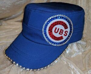 Image is loading Chicago-Cubs-Womens-Blue-Cadet-Rhinestone-Bling-MLB- 10500b0309b