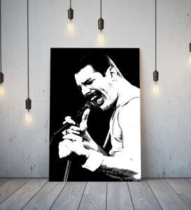 MUSICIAN FREDDIE MERCURY -DEEP FRAMED CANVAS WALL ART PICTURE PAPER PRINT- BLACK