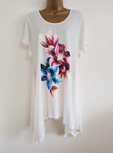 05d68eb1219e3 NEW Plus Size 16-32 Orchid Print White Blue Purple Hanky Hem Tunic ...