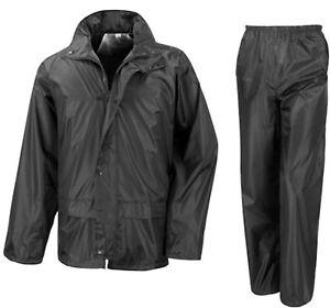 Waterproof Motorcycle Motorbike Over Jacket Trousers 2-piece Suit Black or Navy