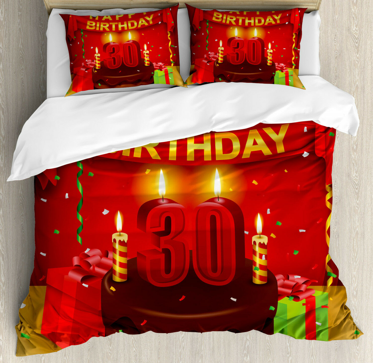 colorful Duvet Cover Set with Pillow Shams Cake and Presents Print