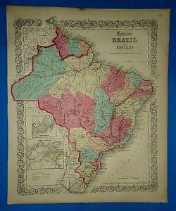 Antique-1857-Colton-Atlas-Map-BRAZIL-EASTERN-SOUTH-AMERICA-Old-Antique-Original