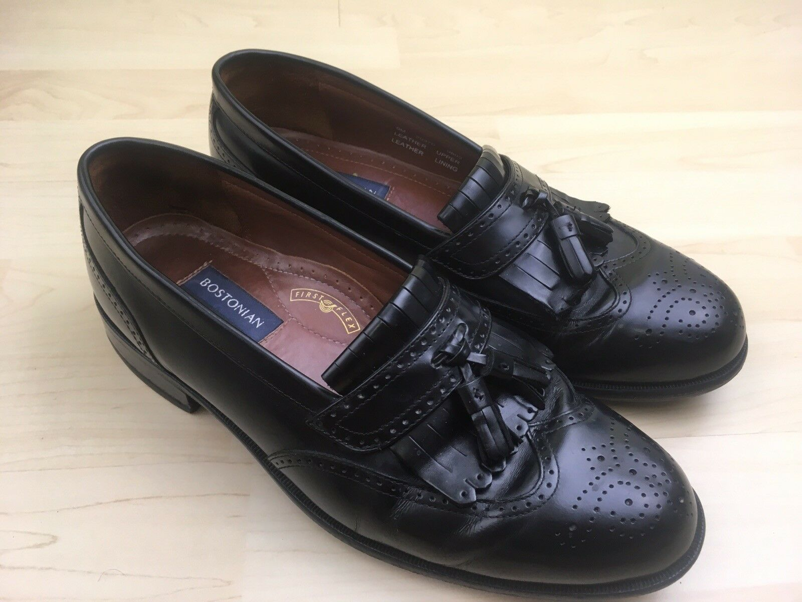 Bostonian Classic Mens Tassel Loafers Size 9M Black Leather Wingtip