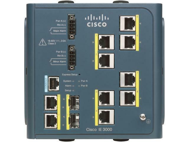 Cisco IE-3000-8TC-E Industrial Ethernet Switch w// IE-3000-8FM Expansion