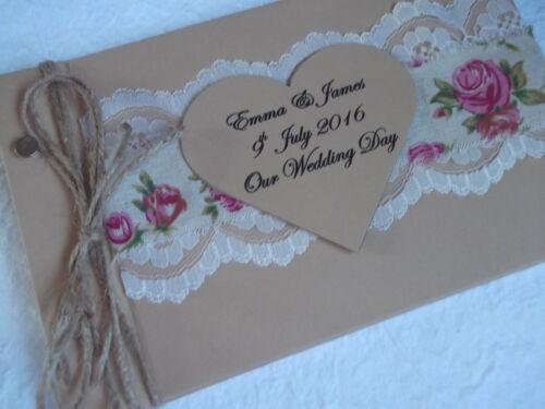 PERSONALISED VINTAGE WEDDING PHOTO ALBUM SHABBY CHIC ~BOXED