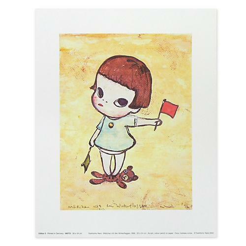 "Yoshitomo Nara /""Flag Signal Girl/"" Print Poster Art Artist Aomori Japan F//S"