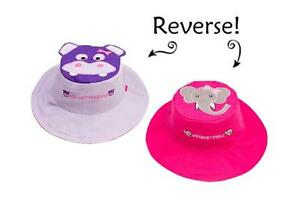 a8a2a8aba Details about New FlapJack Kids Reversible Sun Hat UPF 50+ HIPPO ELEPHANT  Medium 2-4 yrs Pink