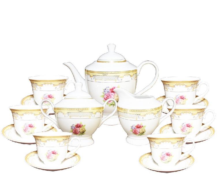 17 Pcs or Floral Design Tea Set, Service For 6 Persons