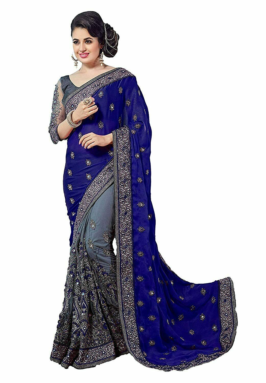 Women's Georgette Saree With Unstitched Blouse Piece