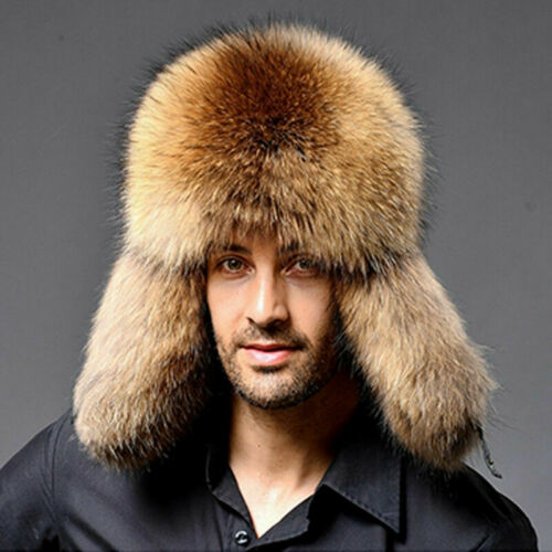 Herren Winter Fuchspelz Fell Faux-Pelz Mütze Russenmütze Kappe Hüte Skimütze