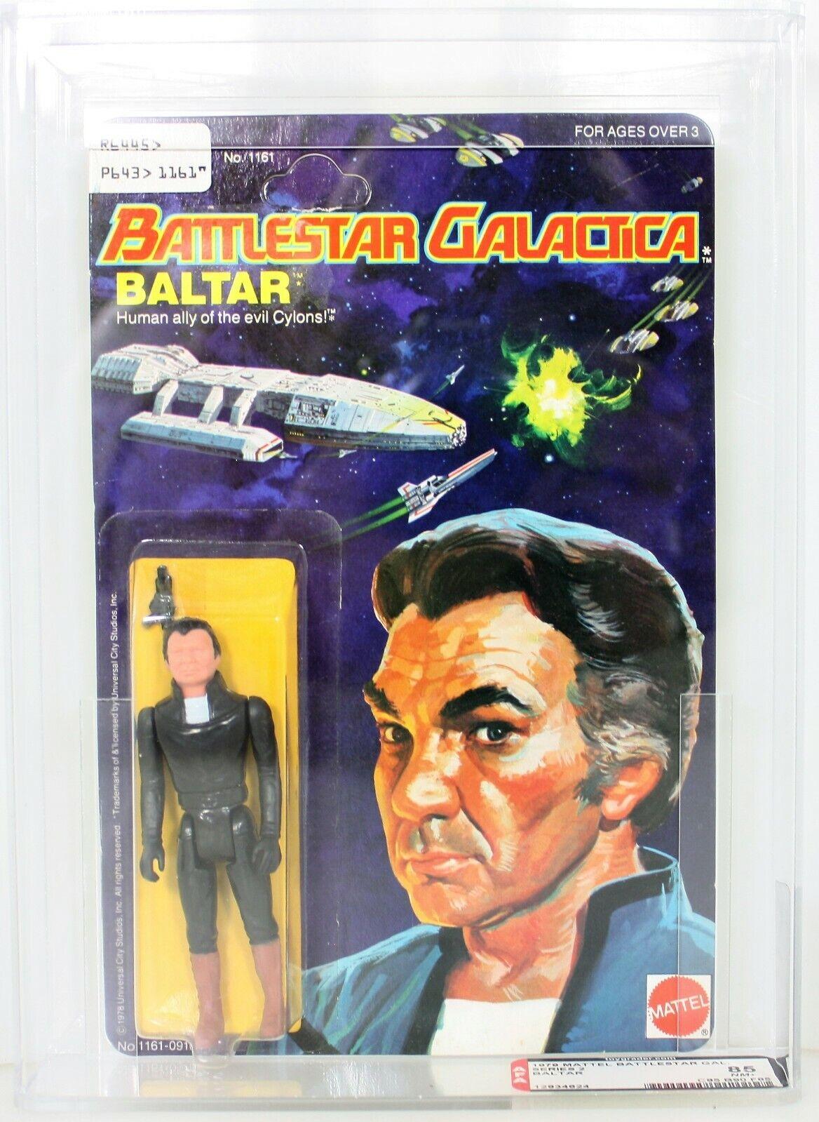 Vintage MATTEL 1979 CAS AFA 85+ RARE BALTAR battleSTAR GALACTICA MOC