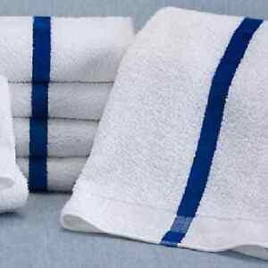 12-new-20x40-blue-stripe-bath-towels-6-per-dozen-pool-towels