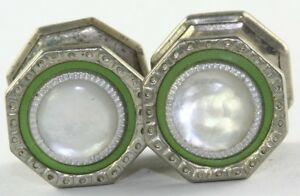 Vintage Green and Mother of Pearl Snap Link Cuff Links