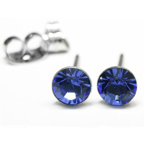 Nuevo titan pendientes 4mm Swarovski piedras Zafiro//Sapphire//azul aretes