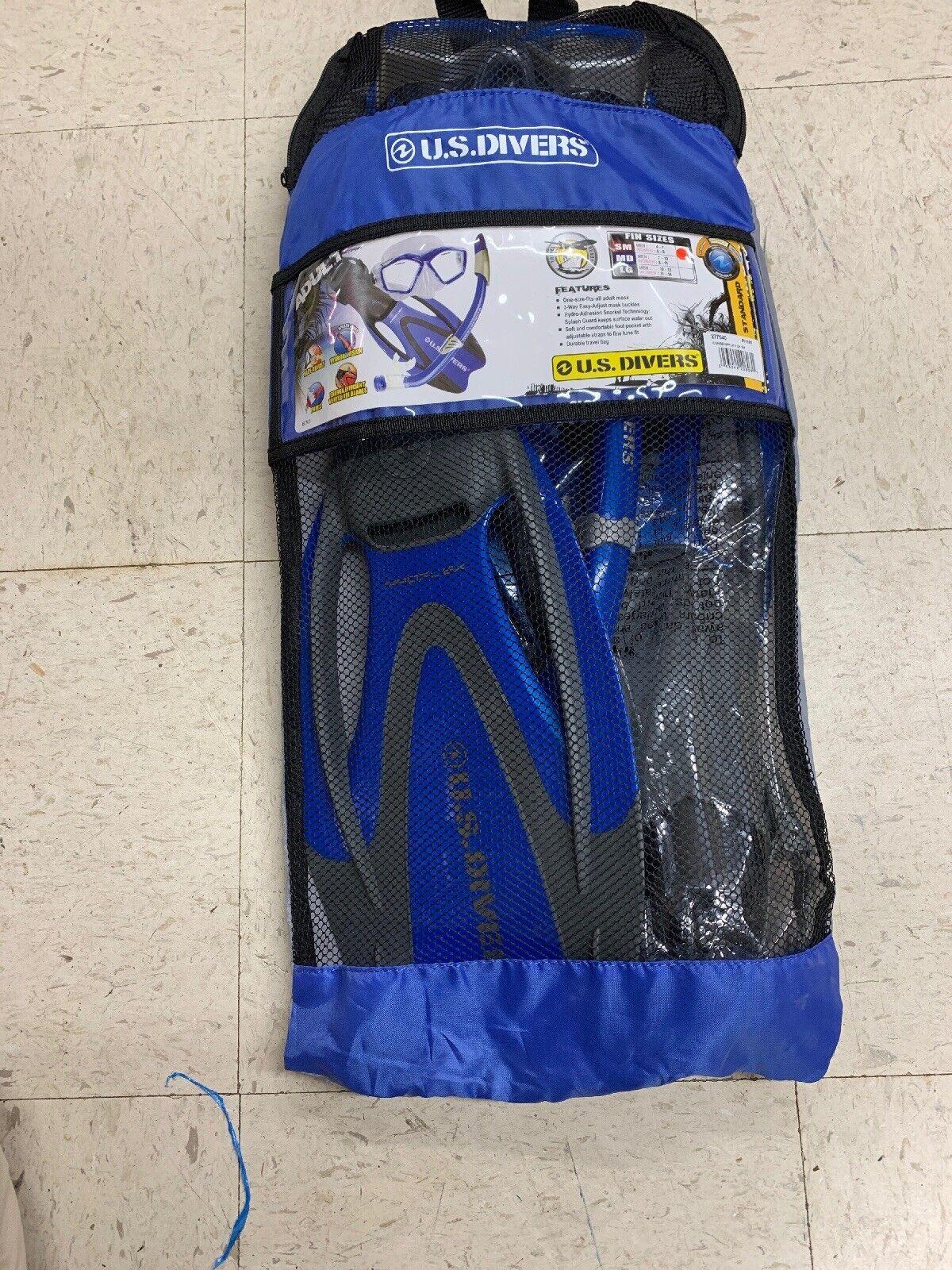 U.S. Divers Adult Icon Mask Seabreeze Snorkel Proflex Open Heel Fins Gearbag SM