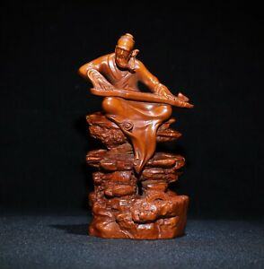 Collect noble natural Boxwood carved old man play Guqin lucky Statue figurines