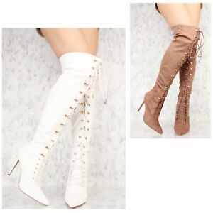 f957022fb74 New Sexy Thigh High over the knee Women s Front Lace up Boots over ...