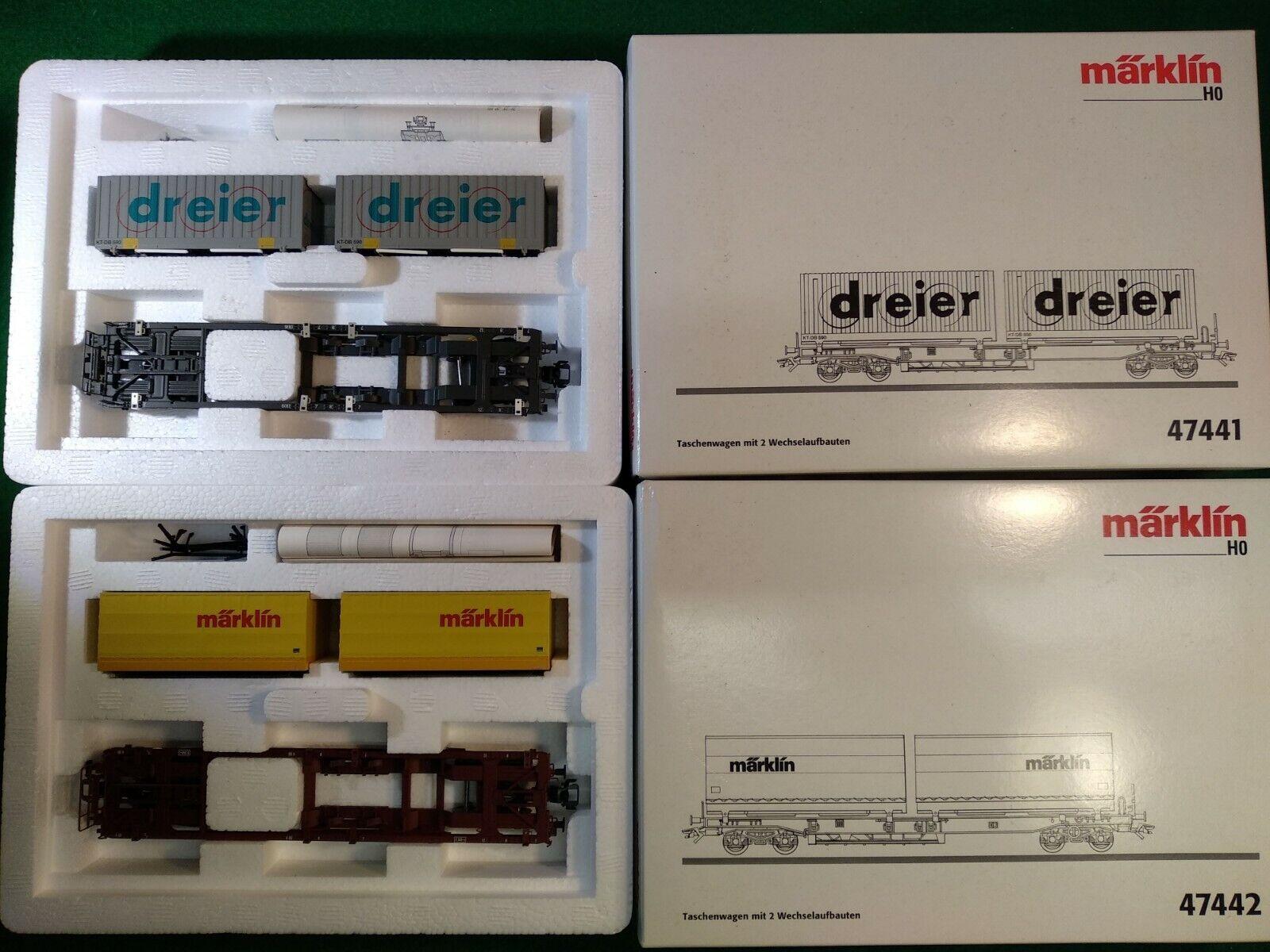 Marklin Container autos Dreier & Marklin 47441 & 47442 OVP Excellent