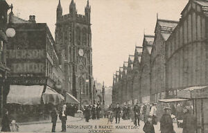 PC74166 Parish Church and Market. Market Day. Stockport. The Branch. 1906