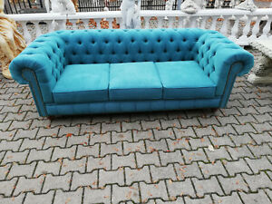 Chesterfield Sofa Couch Polster 3 Sitzer Turkis Textil Stoff Sofort