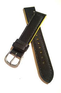 Kunststoff-Uhrenarmband-Schwarz-Gelb-18-mm-044-Watch-strap-watchband