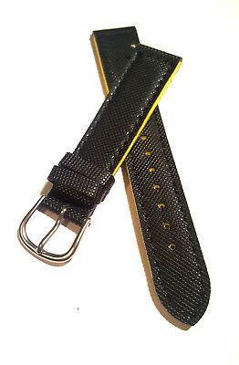 Kunststoff Uhrenarmband / Schwarz-gelb / 18 Mm (044) / Watch Strap / Watchband
