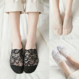 Womens-Cotton-Blend-Lace-Antiskid-Invisible-Low-Cut-Socks-Toe-Ankle-Sock-P