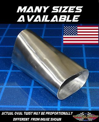 "American Made 3 1//2"" 304 Stainless Oval Exhaust Tubing 90 Degree Twist"