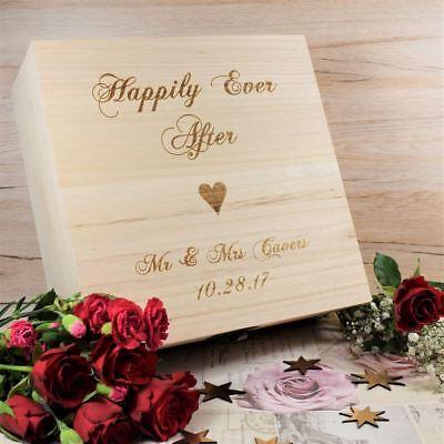 Scatola Di Memoria Matrimonio Personalizzato Inciso In Legno Ricordo Box-ever After- Possedere Sapori Cinesi