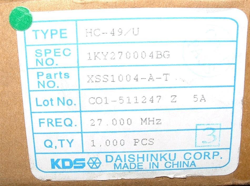 10 x KDS 27Mhz crystal HC49U 27 Mhz HC-49//U 1KY270004BG XSS1004-A-T resonator