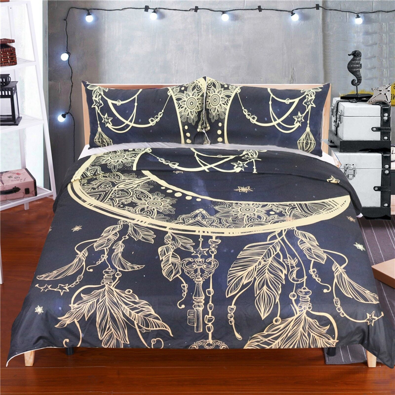 3D Moon Feathers 462 Bed Pillowcases Quilt Duvet Cover Set Single Queen CA