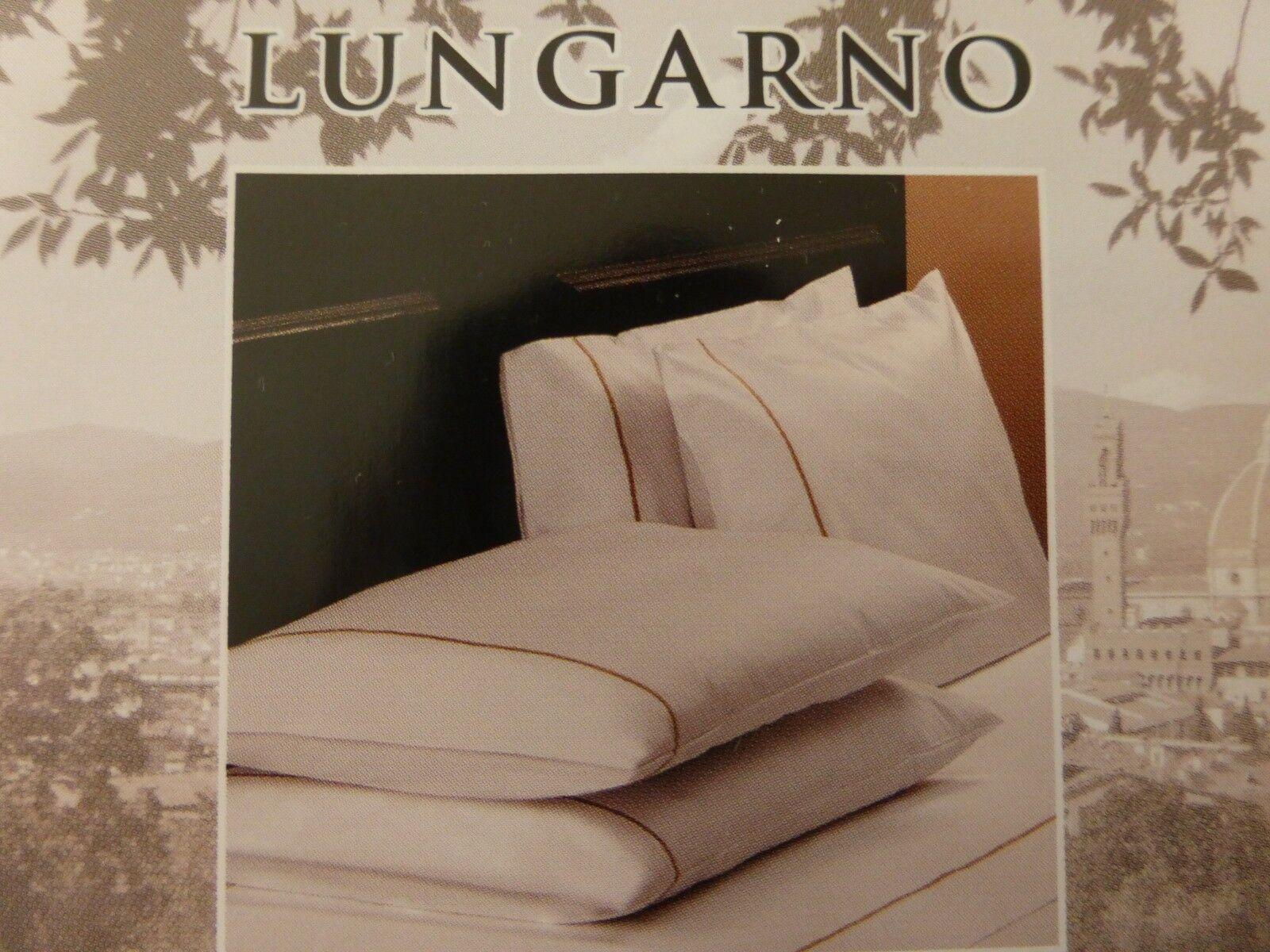 2 pc Lungarno 100% Egyptian Cotton Percale 400TC White King Pillowcases  113 NIP