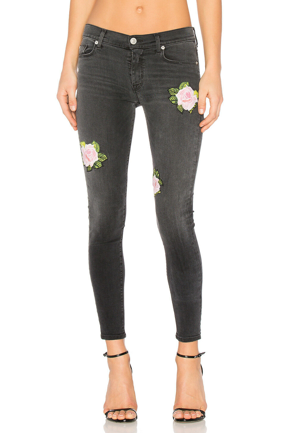 Hudson Nico Midrise Ankle Skinny Embroidered pink Jeans in Confronted - Size 28