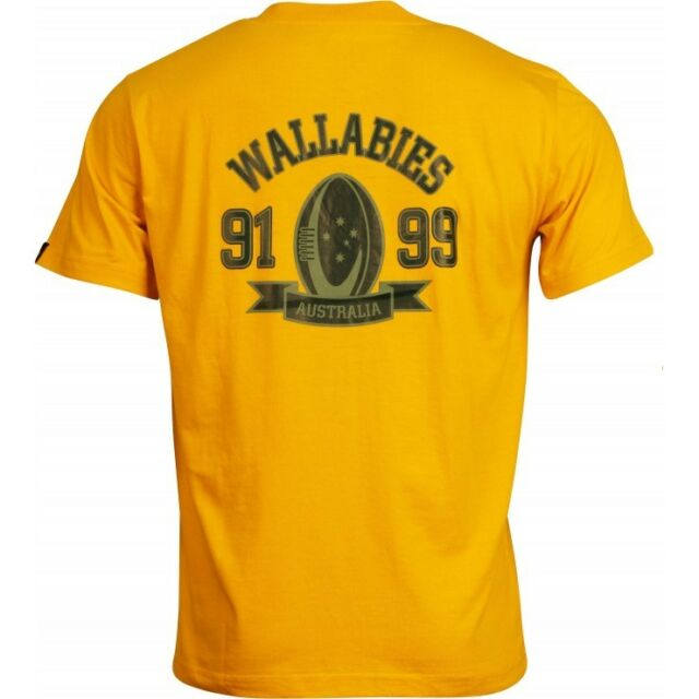 BNWT - Australia Wallabies Rugby T-Shirt Gold Tee - Size: Large