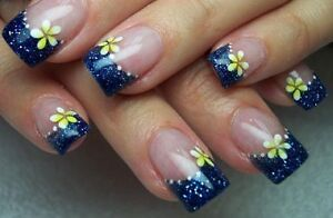 fine glitter dust bling sparkly royal blue nail art 4 gel