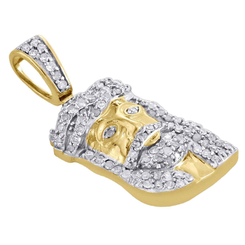 10k oro Giallo con Diamante Piccoli Faccia Gesù Ciondolo 0.95 0.95 0.95   a Pavé 1 3 Kt 08862c