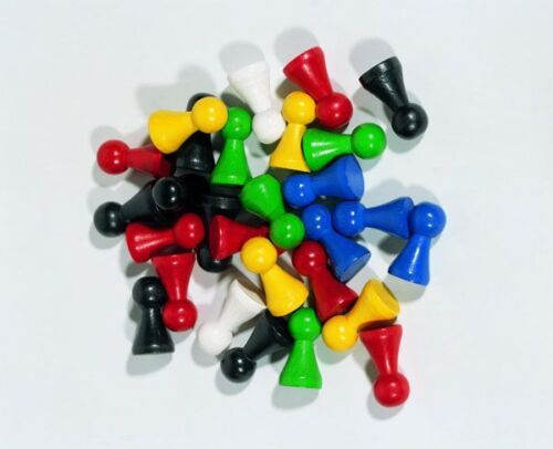 6 Farben gemischt Spielfiguren Pöppel 60 Stück Halmakegel aus Holz 27 mm