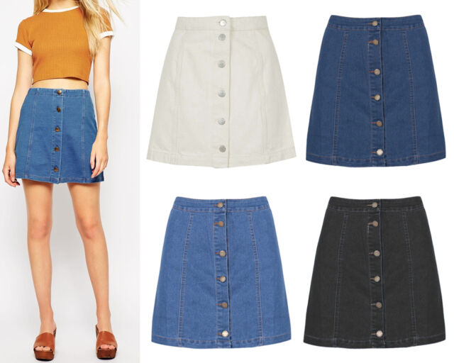 New Chic Women A Line Denim Jean Skirt Button Front Mini High Waist Short 8-14