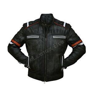 3d7732895d6 La imagen se está cargando Chaqueta-para-hombre-Cuero -Genuino-Real-Vintage-Negro-