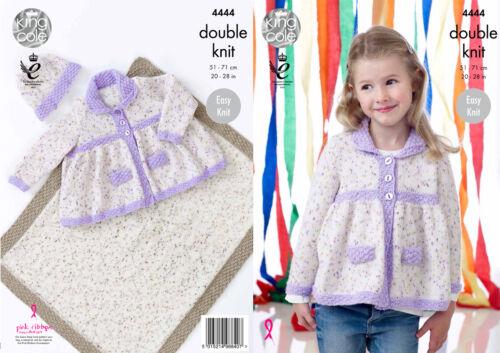 King Cole Girls Knitting Pattern Easy Knit Jacket Hat /& Blanket Smarty DK 4444