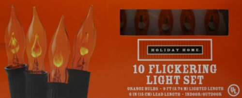 Halloween Holiday Home 10 Flickering Orange Lights Black Wire NIB