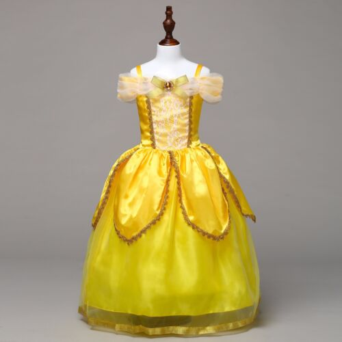 US STOCK Girls Beauty and the Beast Princess Belle Party Costume Fancy Dress O71